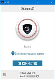 l'écran principal de l'application Le VPN