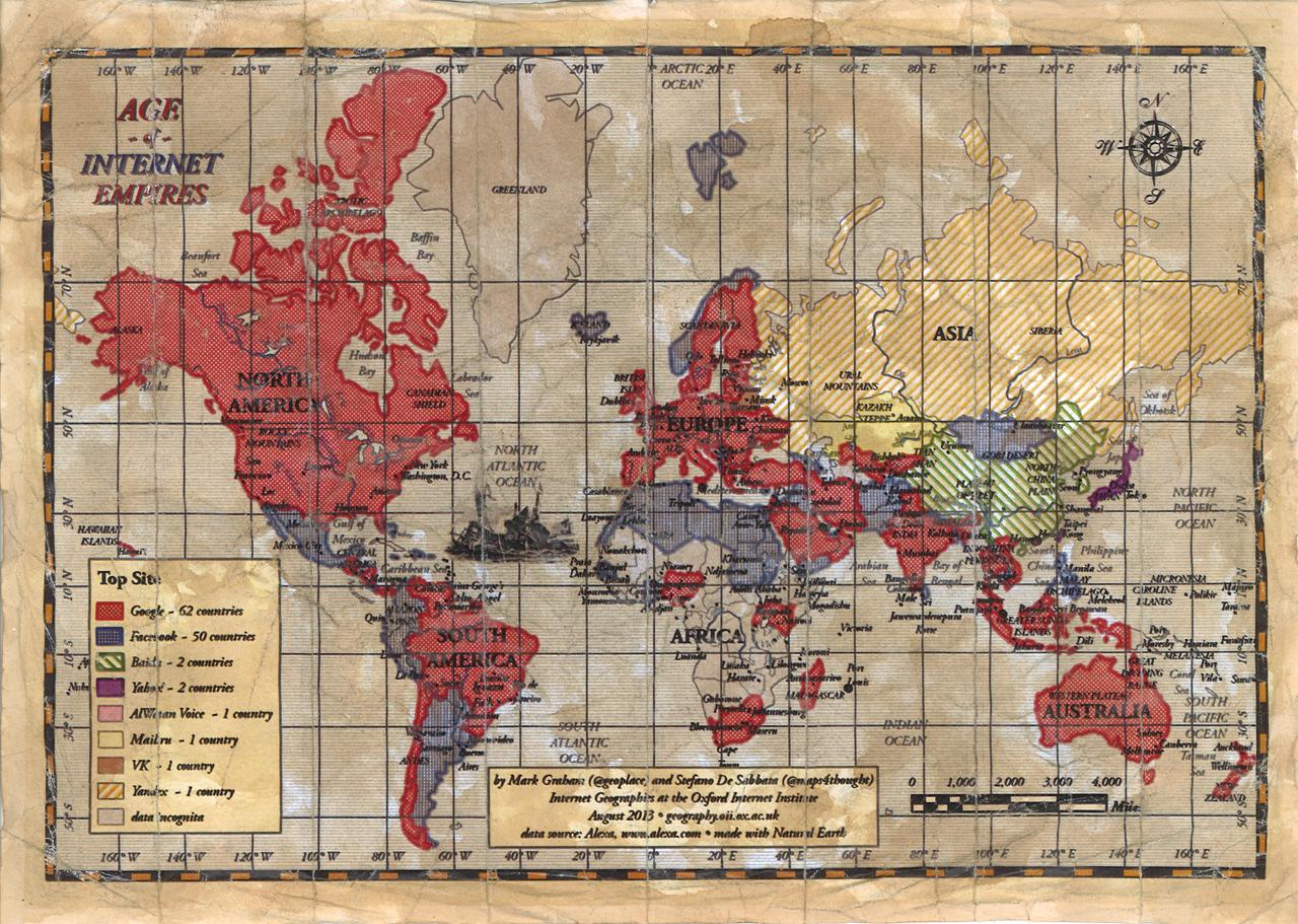 Карта мира из самых посещаемых сайтов